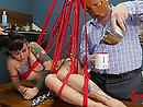 Tied up slut was given an enema and gets smashed shitless