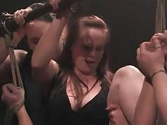 Submissive Blonde Is Bound And Fucked While Group Watches