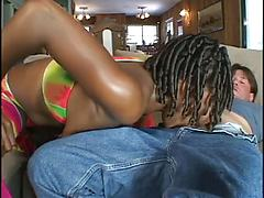 Hot Black Milf Likes To Ride A Huge White Cock