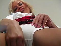 Lovely Blonde Alone Is Masturbating