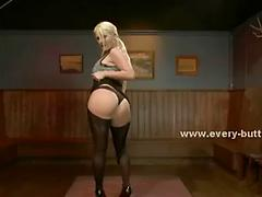 Blonde babe with incredbile butt and big tits teasing the watcher