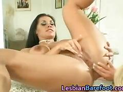 Busty lesbians are licking and dildoing part 2