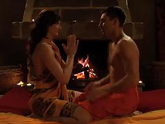 Gorgeous Carmen Arndt oils and massages a sexy guy