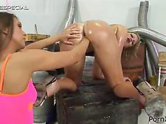 Oiled up lesbian slut Petra Pearl gets snatch deeply fisted