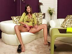 Leggy sweetie in sexy lingerie slams herself with a glass toy