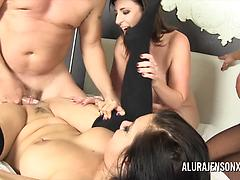 Hot MILF Pornstars Group Fucking With A Guy